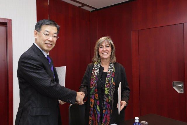Keiji Yamada (Kioto) alcaldesa de L'Hospitalet, Núria Marín