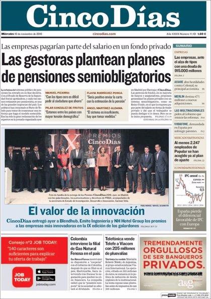 Las portadas de los periódicos económicos de hoy, miércoles 16 de noviembre