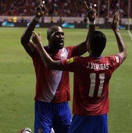 Venegas celebra el gol de Costa Rica ante los Estados Unidos