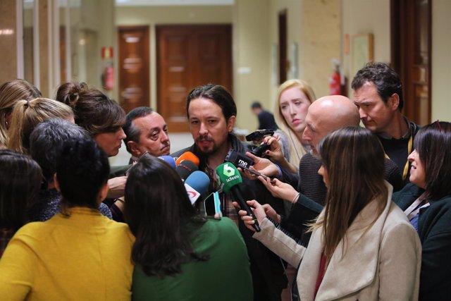 Pablo Iglesias realiza declaraciones en el Congreso