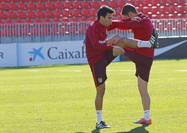 Nico Gaitán entrenando con el Atlético de Madrid