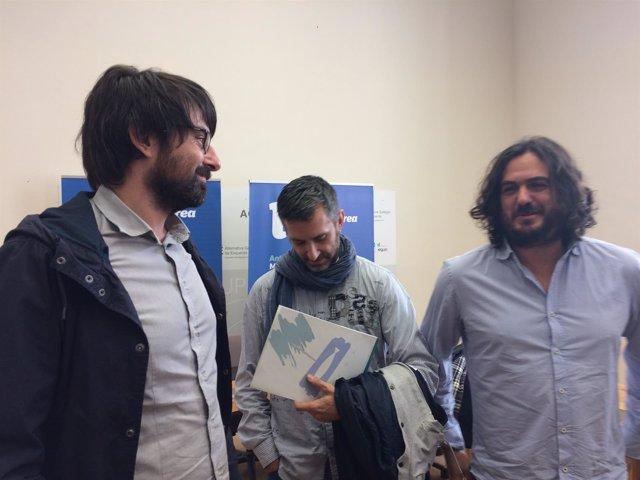 Diputados de En Marea, Antón Sánchez y Marcos Cal, junto Fins Eirexas de Adega