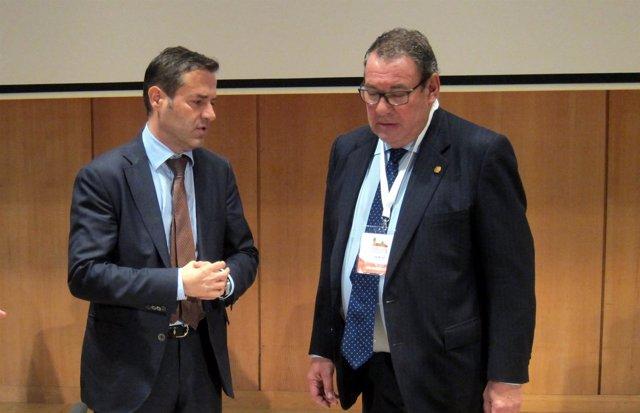 Javier Ramírez junto al presidente de la CEHAT, Juan Molas, en Salamanca.