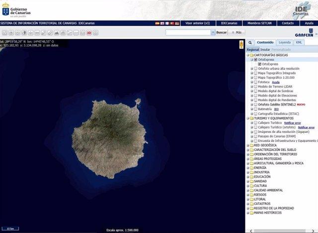 Detalle del visor de Grafcan con una nueva foto de Gran Canaria