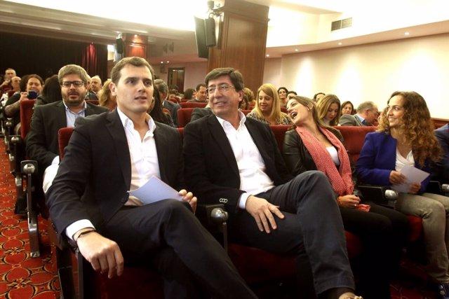 Albert Rivera y Juan Marín, en un acto en Sevilla