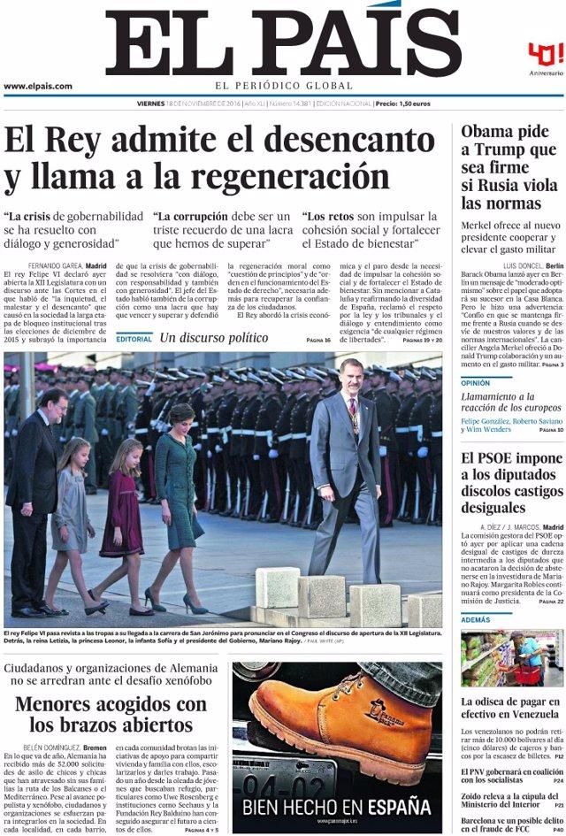 Portada de El País