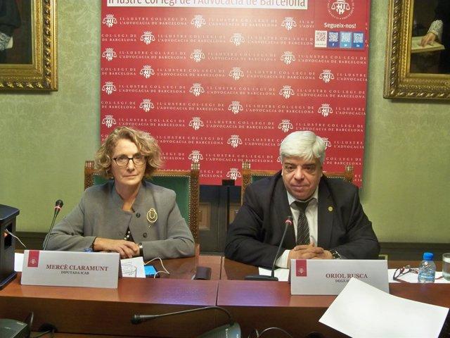 El decano del Icab Oriol Rusca y la responsable del Turno de oficio M.Claramunt
