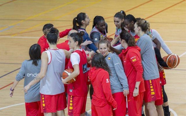 Entrenamientos de la selección española femenina de baloncesto