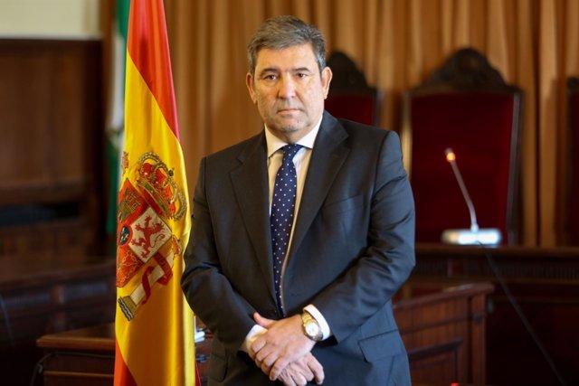 El director de la Guardia Civil, José Manuel Holgado, en los juzgados de Sevilla