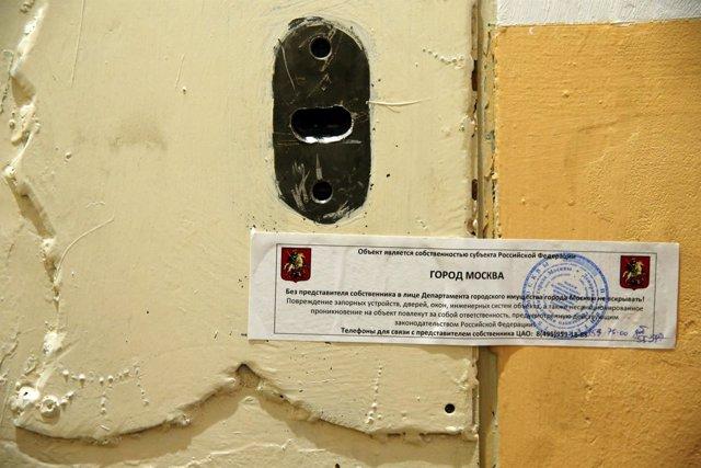 La puerta de la oficina de Amnistía Internacional en Moscú el 2 de noviembre.