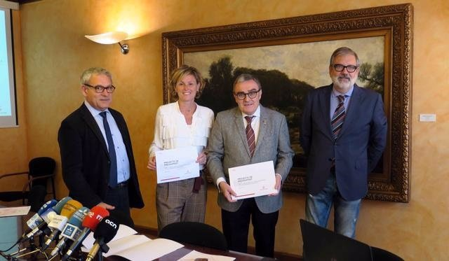 Joan Gómez, Montse Mínguez y Àngel Ros del Ayuntamiento de Lleida