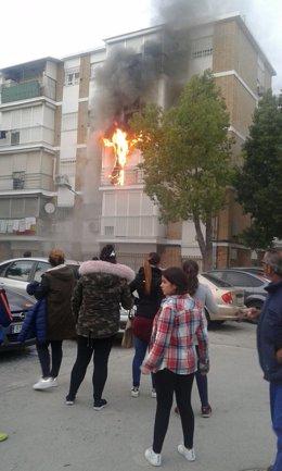 Incendio en una vivienda de Camas