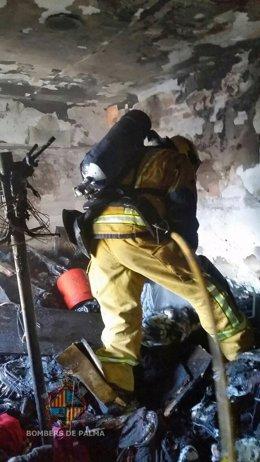 Incendio en la calle Mateu Obrador de Palma