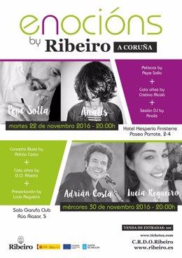 Cartel del ciclo 'Enocións by Ribeiro'