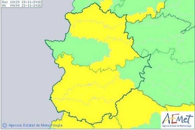 Avisos por lluvias en Extremadura