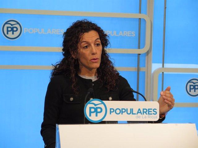 La diputada nacional del PP Mar Cotelo en rueda de prensa