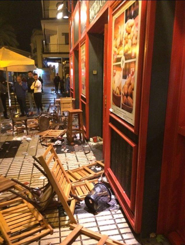 Imagen del local tras los incidentes entre hinchas de Sevilla y Juventus