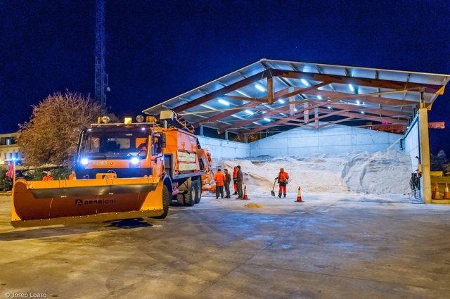 Simulacro de nieve en las autopistas de Abertis