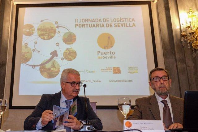 Manuel Jiménez Barrios y Manuel Gracia en las jornadas de logística portuaria