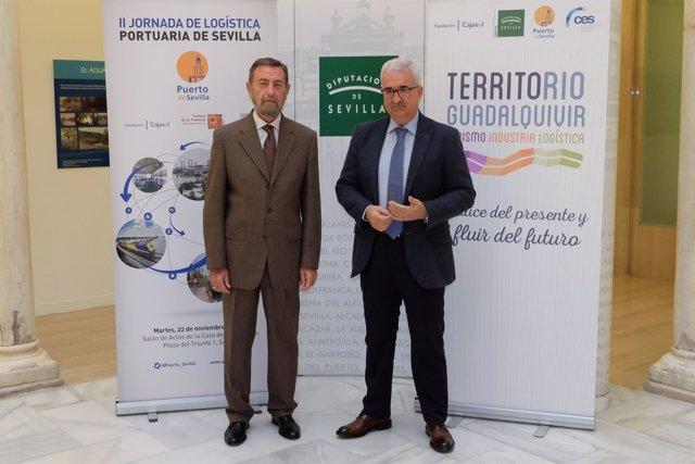 Manuel Gracia y Manuel Jiménez Barrios en las jornadas de logística portuaria