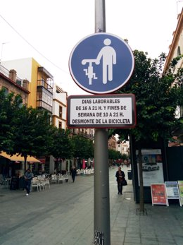 Señales en el carril bici de San Jacinto, en triana (Sevilla)