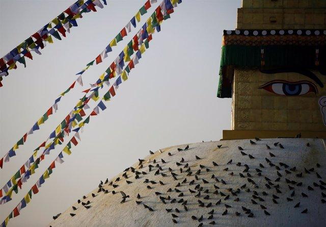 La estupa budista de Boudhanath, en Katmandú (Nepal)