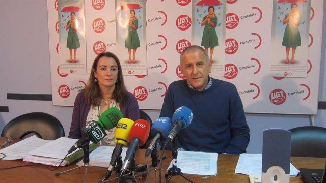 Luis Santos y Pilar Frade, de la FeSP de UGT