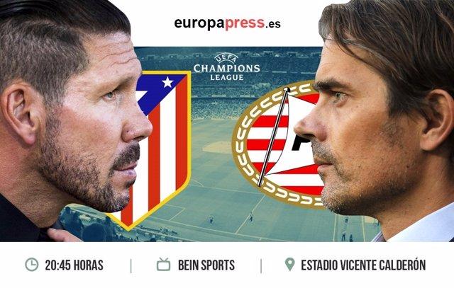 Horario y dónde ver el Atlético de Madrid – PSV Eindhoven | Fase de grupos Champ