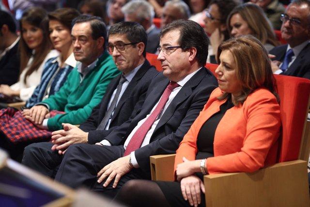 Patxi López y Susana Díaz en la presentación del libro de Fernández Vara