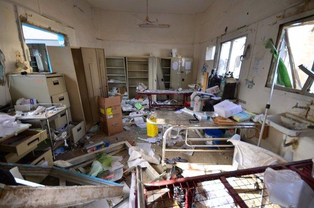 Hospital destruido en Yemen