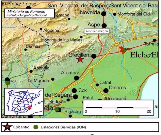 Mapa donde se ha detectado el terremoto en el sur de Alicante