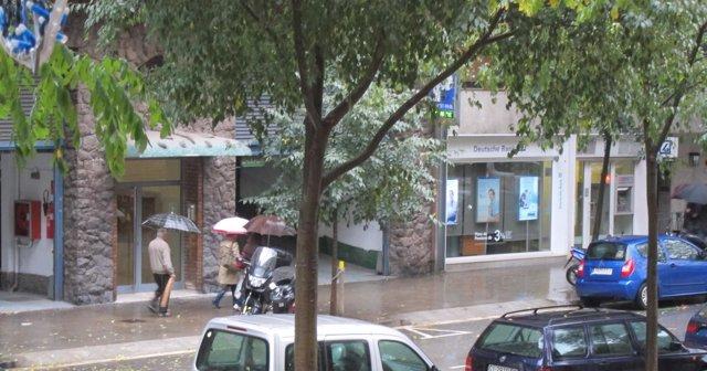 Temporal de lluvia en Barcelona