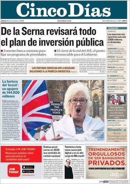 Las portadas de los periódicos económicos de hoy, jueves 24 de noviembre