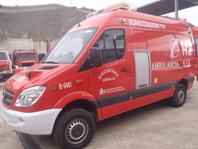 La ambulancia cedida a los bomberos voluntarios de Goizueta