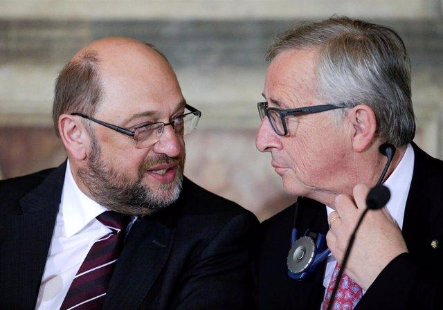 Martin Schulz y Jean-Claude Juncker