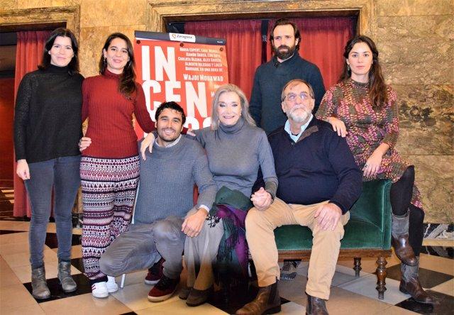 El elenco de actores de 'Incendios', este jueves en Zaragoza.
