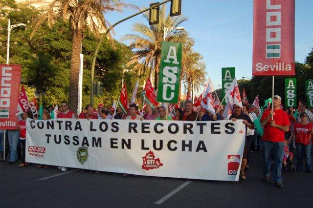 Manifestación de trabajadores de Tussam
