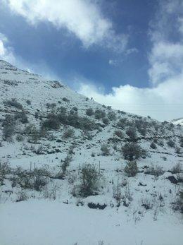 Nieve, temporal, frío, invierno, autopista del Huerna