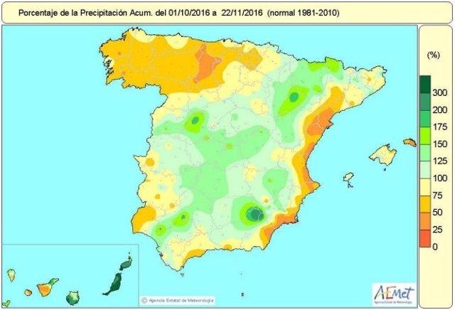Distribución de las lluvias en España hasta el 22 de noviembre