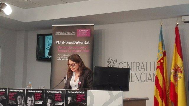 Mónica Oltra en la rueda de prensa posterior al pleno del Consell
