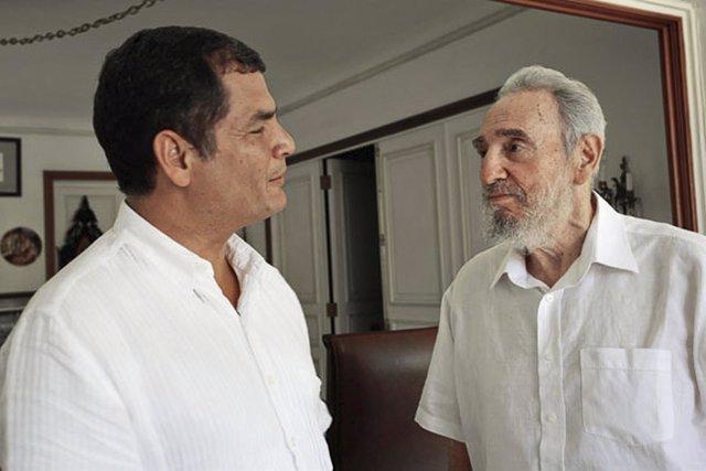 Rafael Correa y Fidel Castro, en Cuba en el año 2009
