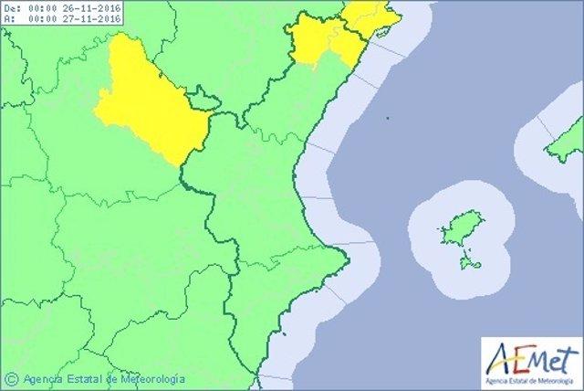 Alerta amarilla en el norte de Castellón por lluvias para este sábado