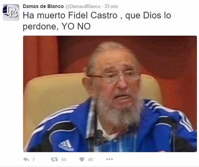 Mensaje de las Damas de Blanco en Twitter tras la muerte de Fidel Castro