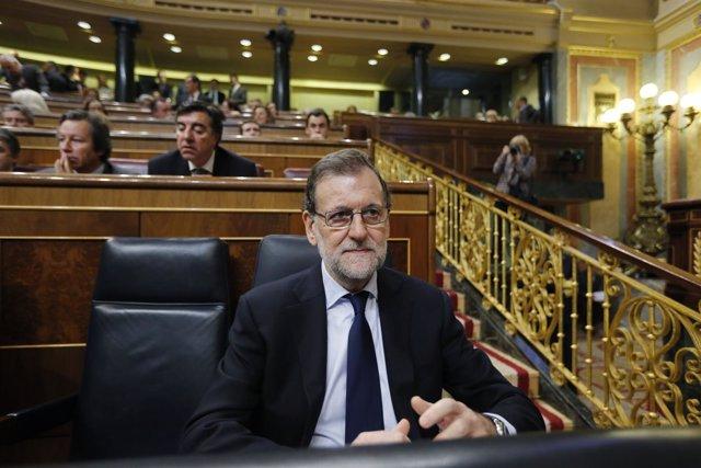 Rajoy durante la sesión de control al Gobierno en el Congreso