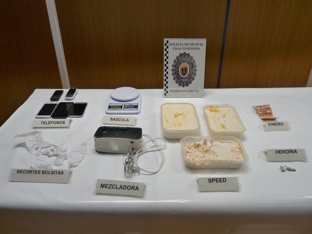 Droga incautada por la Policía Municipal de Pamplona