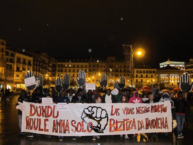 Manifestación de la comunidad senegalesa de Navarra
