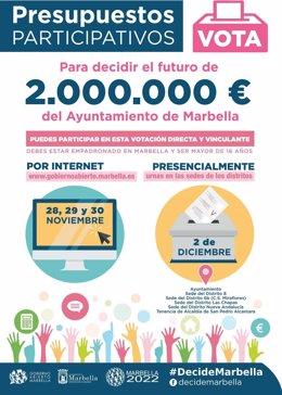 Cartel presupuestos participativos de Marbella