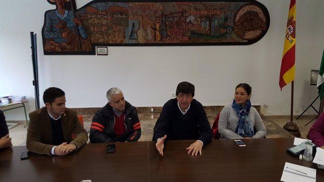 Juan Marín, hoy junto a otros miembros de C's