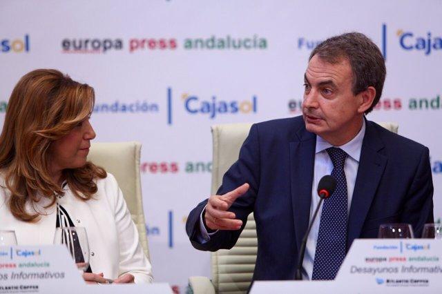 Susana Díaz y Rodríguez Zapatero, en los Desayunos de Europa Press Andalucía