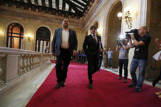 El líder de ERC, O.Junqueras, y el presidente de la Generalitat, C.Puigdemont